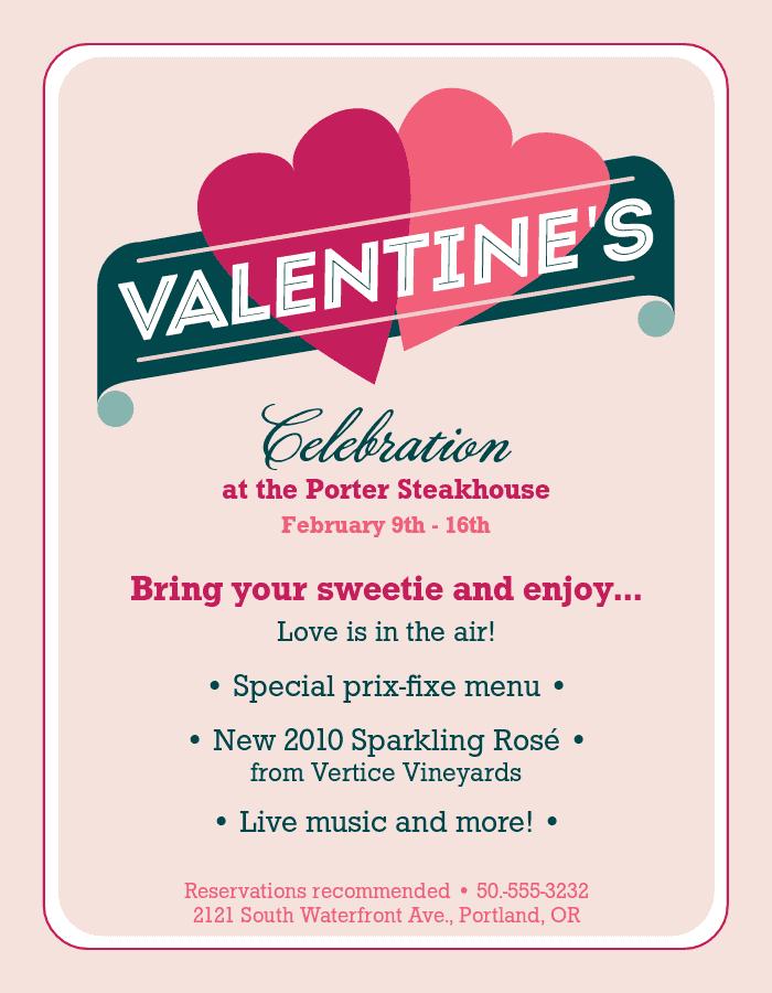 Valentines Restaurant Flyer