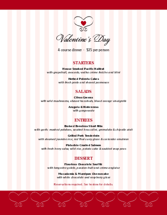 Customize Special Valentine's Day Menu