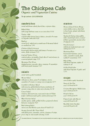 Customize Vegan Cafe A4 Menu