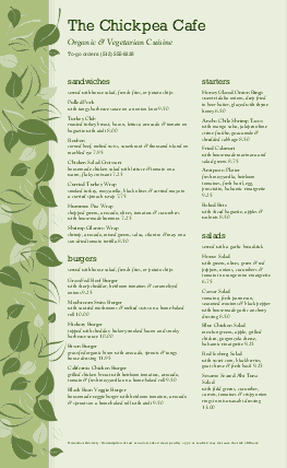 Customize Vegan Cafe Long Menu