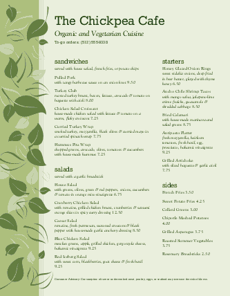 View Vegan Cafe Menu