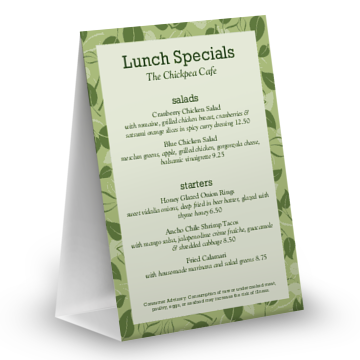 Vegan Table Tent Menu