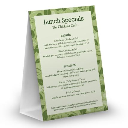 View Vegan Table Tent Menu
