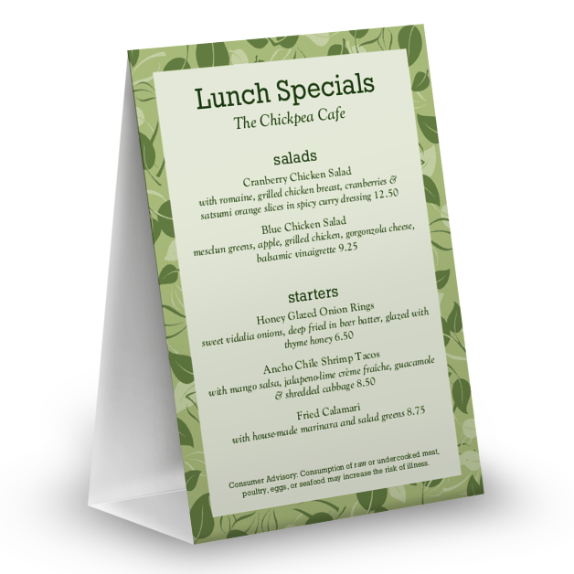 Customize Vegan Table Tent Menu