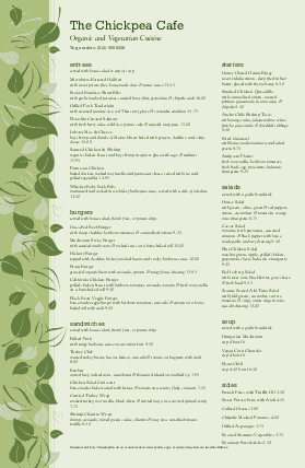 Customize Vegan Cafe Tabloid Menu