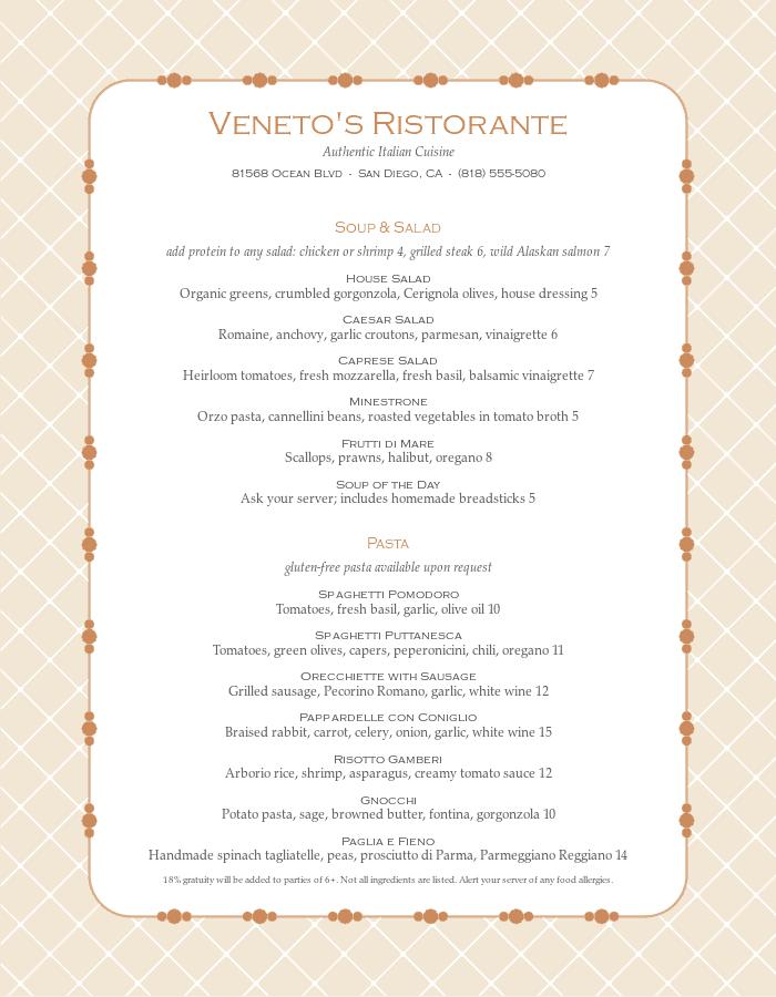 Venetian Italian Menu