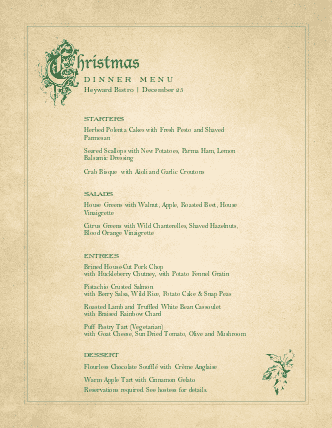 Customize Victorian Christmas Menu