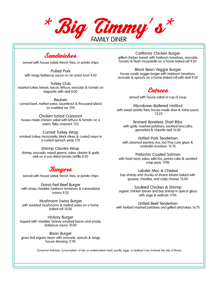 Diner Menu Templates With Authentic Style
