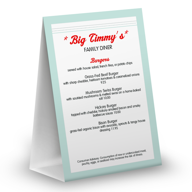 4x6 table tent template - vintage diner table tent table tent