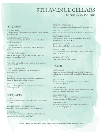 Customize Watercolor Wine Bar Menu