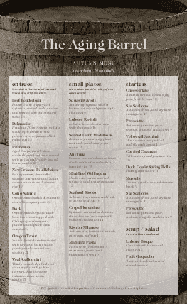 Customize Winery Menu