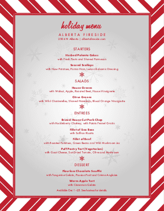 Customize Winter Holiday Menu