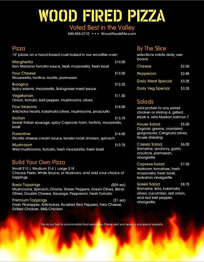 Wood Fired Pizza Menu