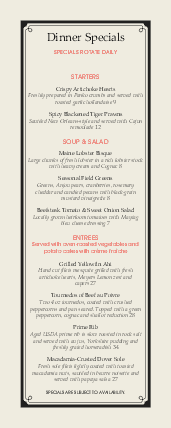 Customize Yacht Club Specials Menu