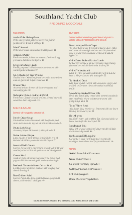Customize Yacht Club Long Menu