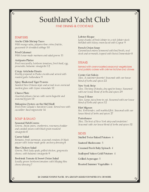 Customize Yacht Club Cafe Menu