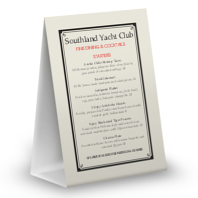 Yacht Club Table Tent Menu