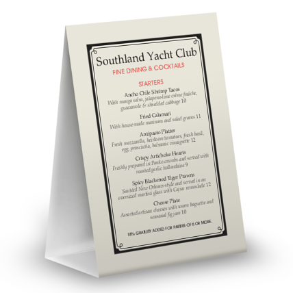 View Yacht Club Table Tent Menu