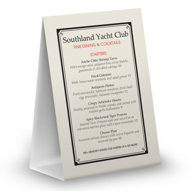 Customize Yacht Club Table Tent Menu
