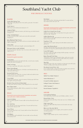 Customize Yacht Club Tabloid Menu